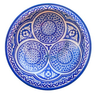 Handmade Blue Moroccan Wall Plate For Sale
