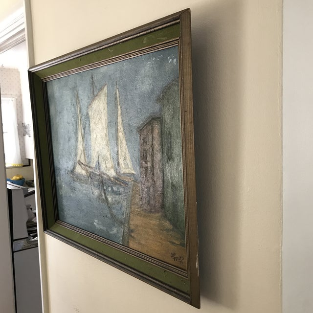 Vintage 1971 artisan framed painting of sailboats in a rustic harbor at dusk. Primitive and rich in tone and texture. Some...