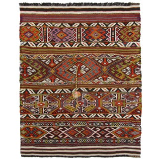 Bright Cicim Flatweave with PomPom Tassel | 2'8 x 3'3 Kilim For Sale