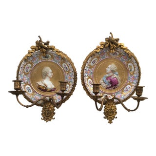 Porcelain & Bronze Royal Portrait Sconces - A Pair For Sale