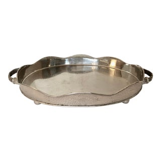 Large Oval Metal Tray With Handles For Sale