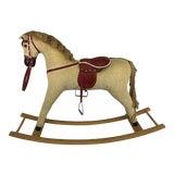 Image of Vintage Corduroy Rocking Horse For Sale