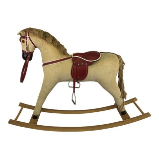 Vintage Corduroy Rocking Horse For Sale