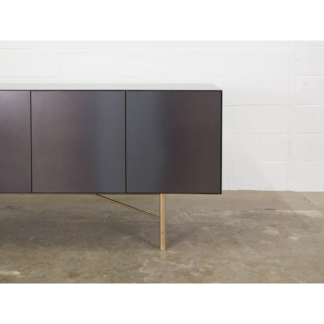 Connect Credenza Sideboard Customizable in Steel and Polished Bronze For Sale - Image 4 of 8