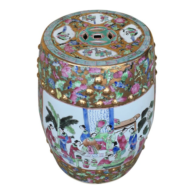 Contemporary Chinoiserie Garden Stool For Sale