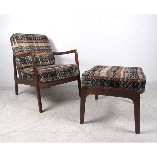 Vintage Modern Ole Wanscher Lounge Chair With Ottoman by John Stuart For Sale - Image 13 of 13