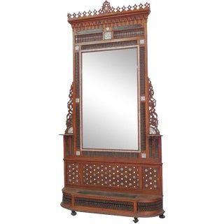 Moroccan Carved Inlaid Hall Rack For Sale