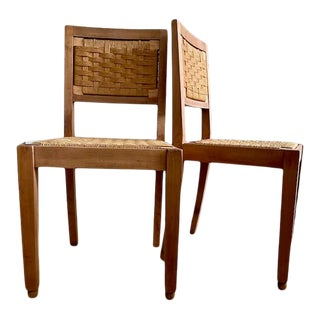 1930s Francis Jourdain Style French Cherry and Rush Seat Side Chairs - a Pair