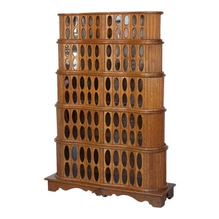 1930s Sculptural Stacked Oak Tambour Curio Cabinet