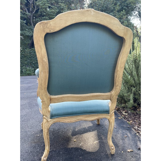 Teal Wood Carved Upholstered Arm Chairs - a Pair For Sale - Image 8 of 9