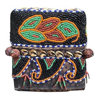 Small Indonesian Hand Beaded Basket With Lid For Sale