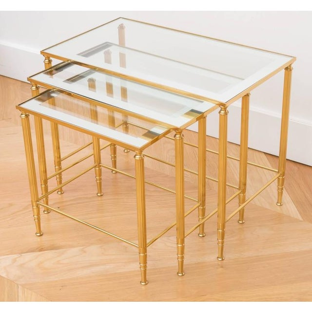 Italian Brass Nesting Tables - Set of 3 For Sale - Image 5 of 6