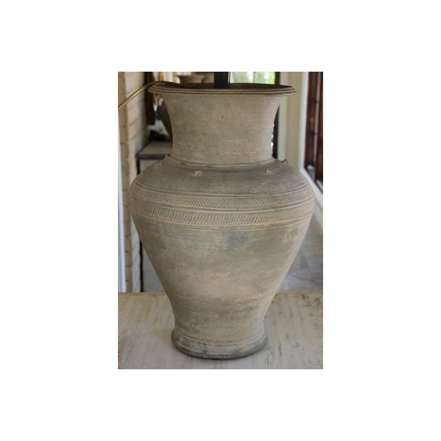 Large Unglazed Khmer Vase as Table Lamp For Sale - Image 4 of 12