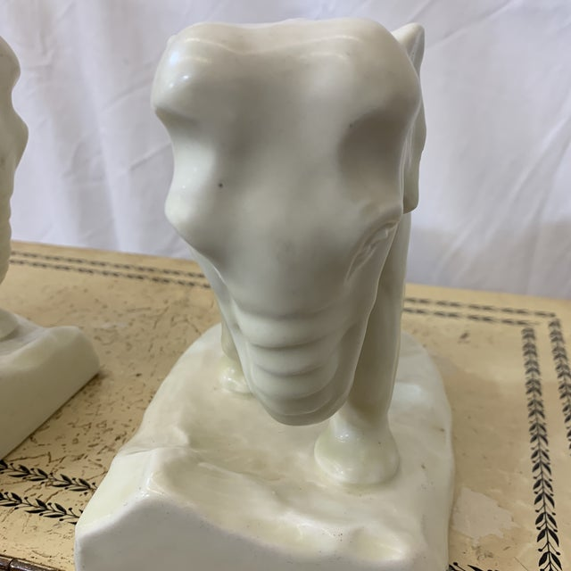 White Rookwood Elephant Book Ends For Sale - Image 10 of 11