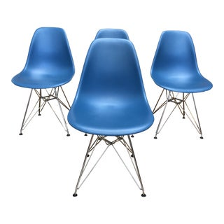 Herman Miller Eames Peacock Blue Molded Plastic + Wire Side Chairs- Set of Four For Sale