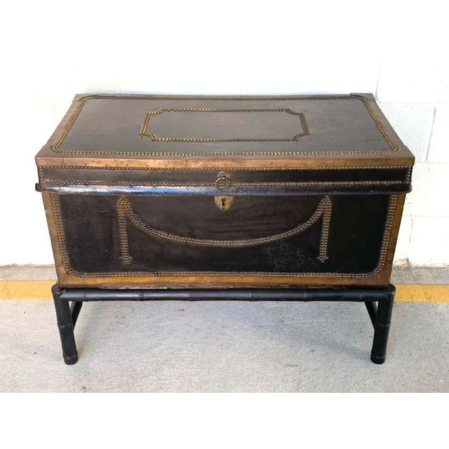 19th Century English Regency Brass Studded Leather Chest on Stand For Sale - Image 4 of 10