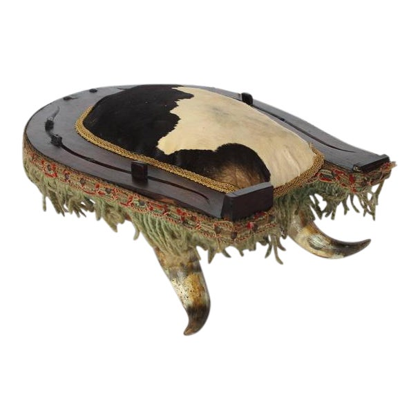 Early 20th Century Antique American Folk Art Cowhide and Horn Foot Stool For Sale