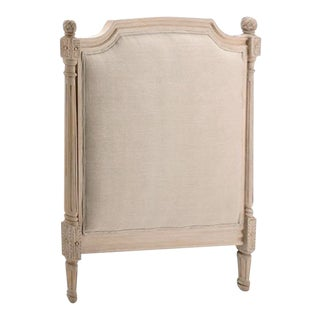 French Style Belgian Linen Upholstered Panel Twin Headboard For Sale