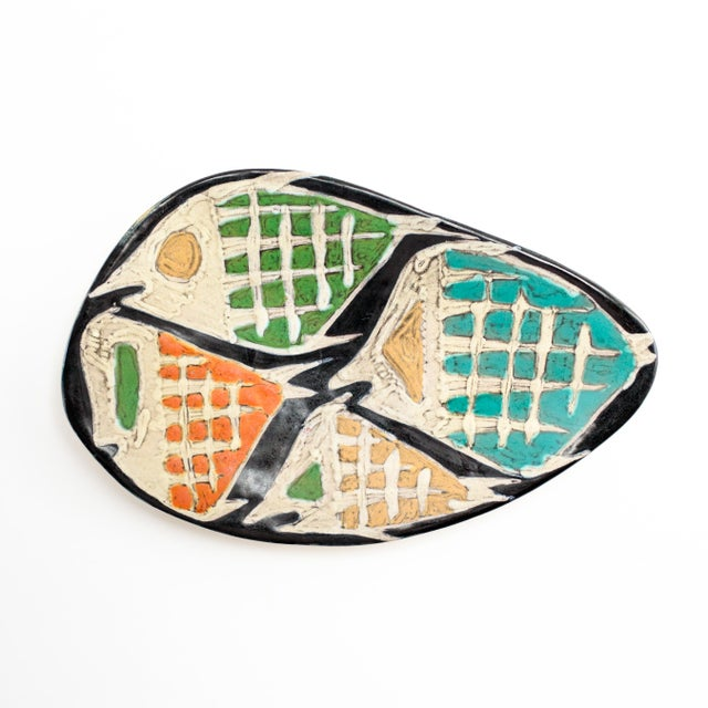 Ceramic Livia Gorka Mid-Century Art Pottery Plate or Dish Decorated With Four Fish For Sale - Image 7 of 7