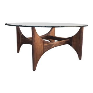 Custom Mid Century Style Coffee Table in Solid Walnut For Sale