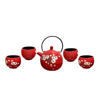 Asian Style Red Tea Set With White Plum Blossom - Set of 5 For Sale