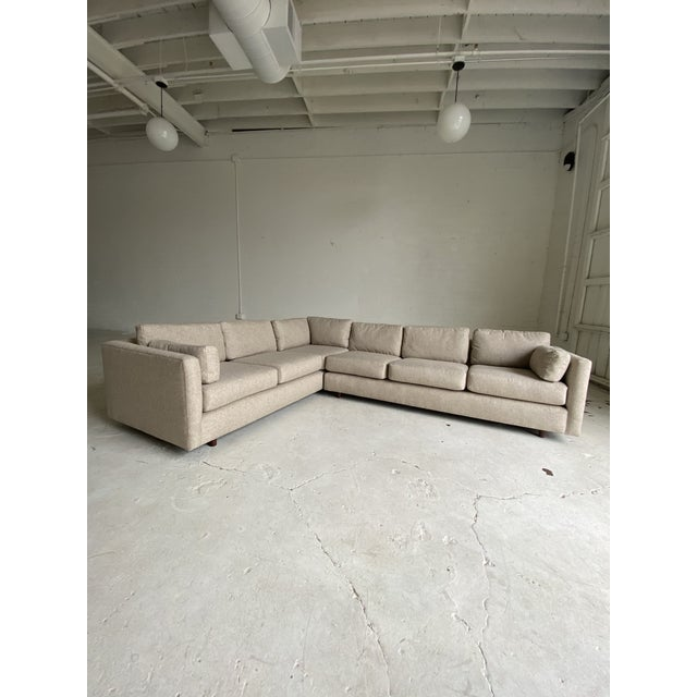 Mid-Century Modern Mid Century Newly Upholstered 2-Piece Tan Sectional For Sale - Image 3 of 11
