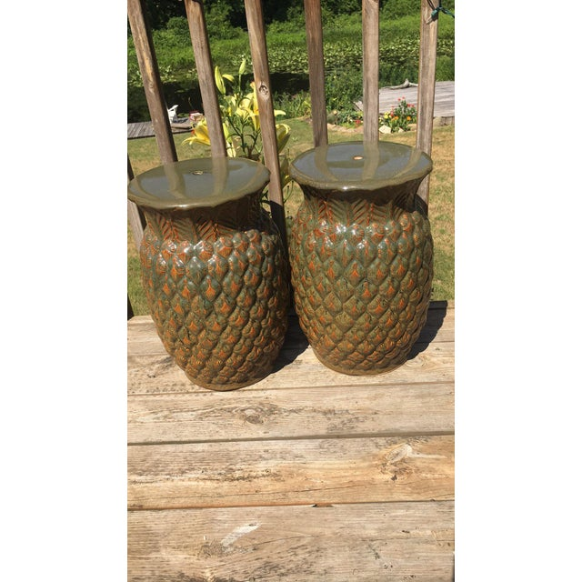 Asian Modern (Made in Italy) Ceramic Pineapple Garden Stools - a Pair For Sale - Image 4 of 4