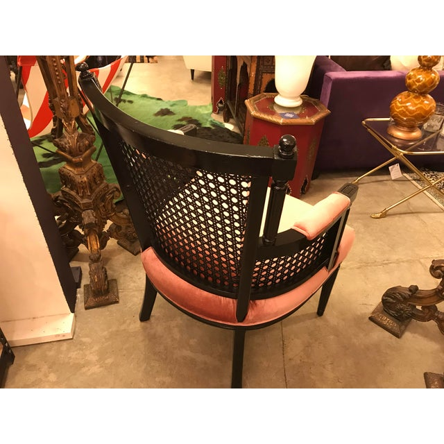 Mid 20th Century Restored, Carved and Caned Armchair, Black Lacquer Finish For Sale - Image 5 of 11