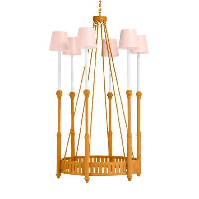 Casa Cosima Camilla Chandelier, Dash of Curry Just Peachy Shades For Sale - Image 4 of 4