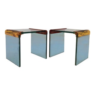 Pace Glass & Brass Side Tables - A Pair