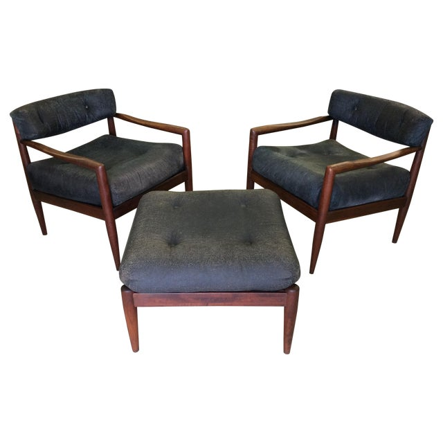 Adrian Pearsall for Craft Lounge Chairs & Ottoman For Sale