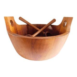 Richard Nissen Mid Century Denmark Salad Bowl and Spoons For Sale