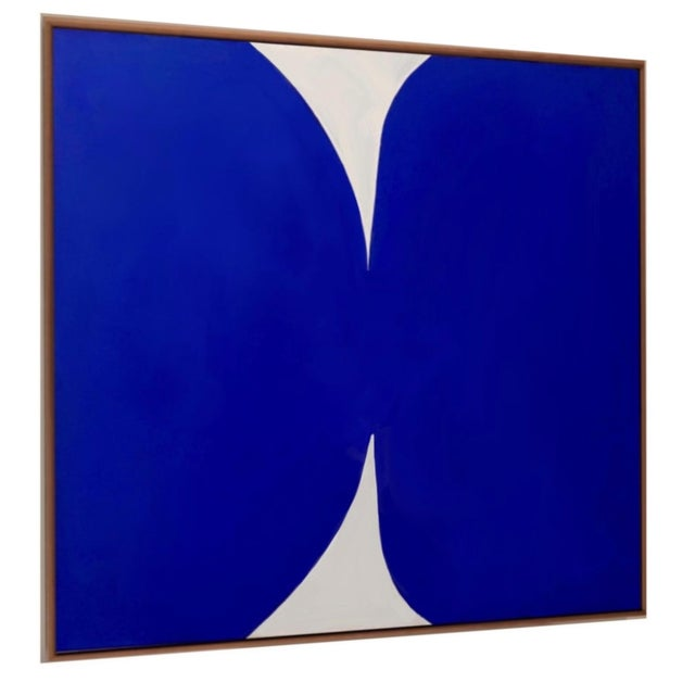 """""""Klein Blue and White"""" Contemporary Abstract Acrylic Painting, Framed For Sale - Image 4 of 5"""