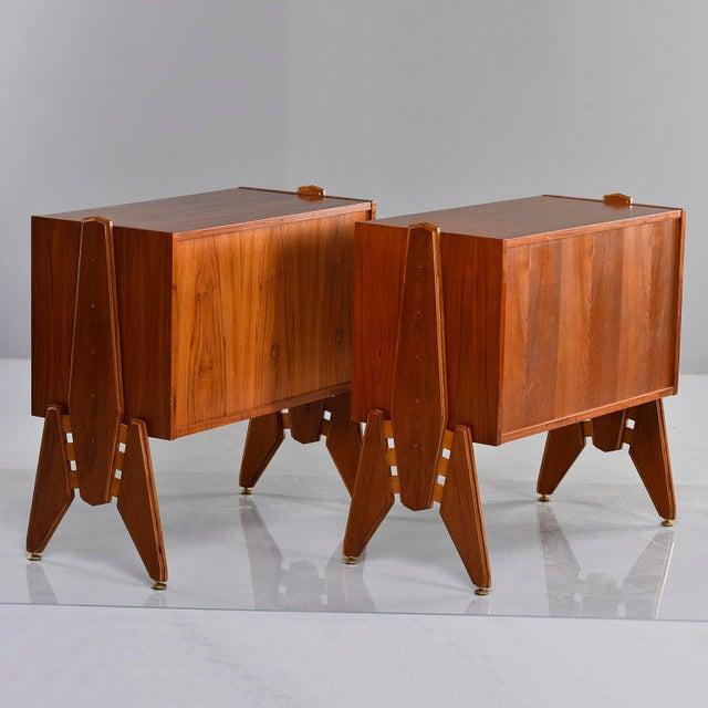 Pair Mid Century Italian Adjustable Height Teak Side Cabinets For Sale - Image 9 of 13