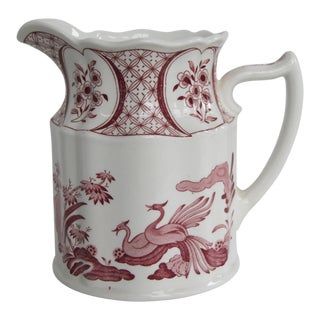 Furnivals Limited Old Chelsea English Red Transfer Ware Pitcher For Sale