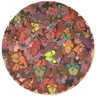 "Nicolette Mayer Mariposa Ochre 16"" Round Pebble Placemats, Set of 4 For Sale"
