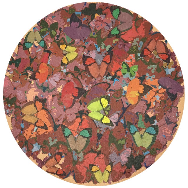 """Nicolette Mayer Mariposa Ochre 16"""" Round Pebble Placemats, Set of 4 For Sale"""