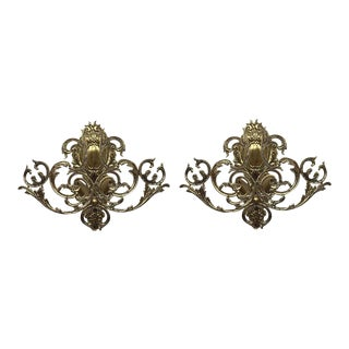 20th Century Pair of Two Lights Baroque Bronze Sconces With Bronze Lampshades For Sale