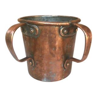 Antique 19th Century Hand Made Double Handled Copper Tankard For Sale