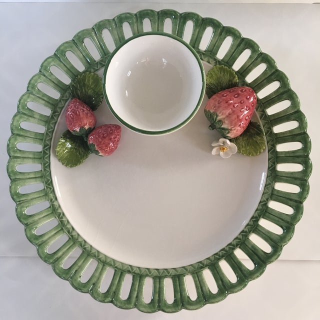 Beautiful hand painted , hand made, porcelain chip and dip platter with attached bowl. This platter was made in Italy and...