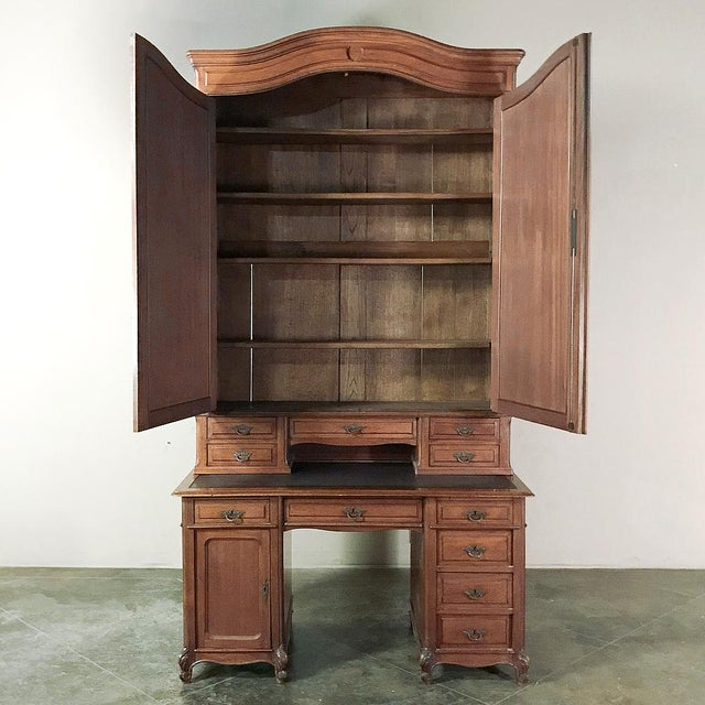 Mid 19th Century Grand 19th Century Louis Philippe Mahogany Desk With Bookcase For Sale - Image 5 of 13