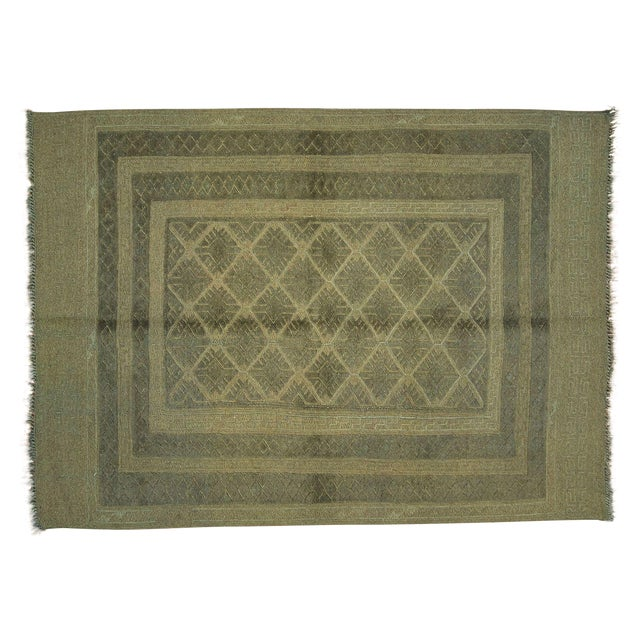 "Overdyed Geometric Green Wool Rug - 4'6"" x 6' - Image 1 of 8"