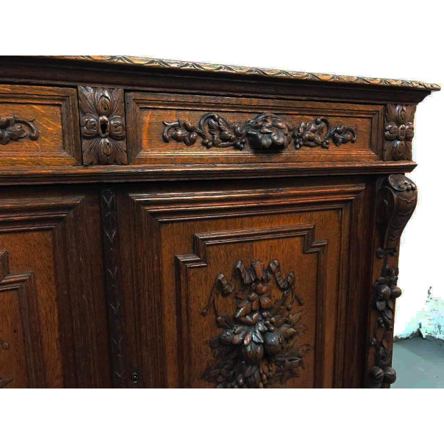 French Antique Hand Carved Oak Sideboard For Sale - Image 5 of 10