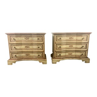 Italian Hollywood Regency Painted 3-Drawer Nightstands / Commodes - A Pair For Sale