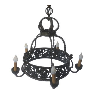 Antique French Arts and Crafts Wrought Iron Chandelier For Sale