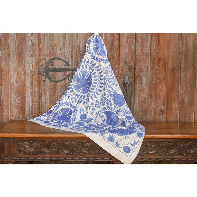 Silk Blue Suzani Tapestry Throw For Sale - Image 7 of 9