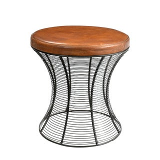 Wire & Leather Stool