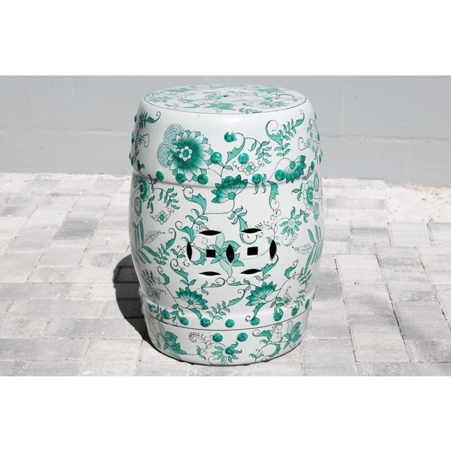Green and White Garden Stool Table With Hand-Painted Flowers and Vines For Sale - Image 12 of 12
