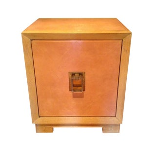 Tommi Parzinger Style Pink Leather & Wood Cabinet For Sale