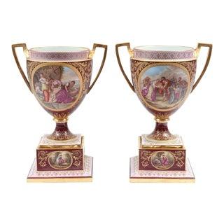 Antique Royal Vienna Porcelain Pieces / Urns - a Pair For Sale